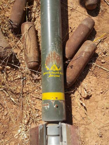 Missile with origin defaced - fired at Syrian troops at Koyeress airbase 40 km east of Aleppo