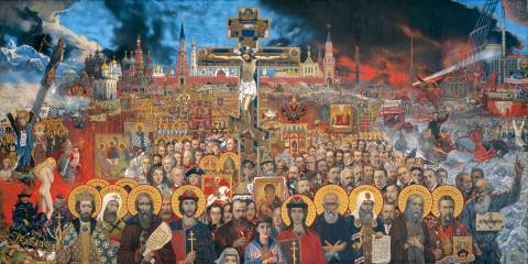 """""""Eternal Russia"""" by Ilya Glazunov depicts the perpetual Orthodox Rus' juxtaposed amidst the storms of its ages, and ours."""