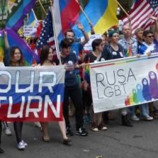 Русскоязычный контингент RUSA-LGBT шел одним из последних | Фото Би-би-си