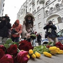 Muscovites laying flowers at the Belgian Embassy in Moscow