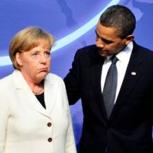 Obama gently caressing his favorite German poodle