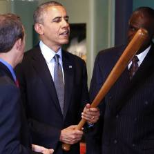 Historians agree that the historic murder of peace prize winners by a peace prize winner would have been even more historic if it had been done with a baseball bat. Next time?