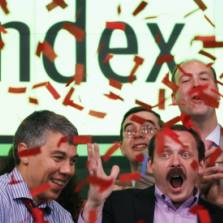 Arkady Volozh, second from right, CEO of Yandex, and Ilya Segalovich, second from right, the company's Chief Technology Officer, celebrate the initial public offering at the Nasdaq MarketSite, Tuesday, May 24, 2011 in New York   Photo: AP