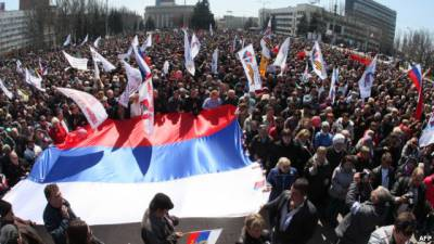 Anti-Maidan and pro-Russian rally in Kharkov in Spring 2014