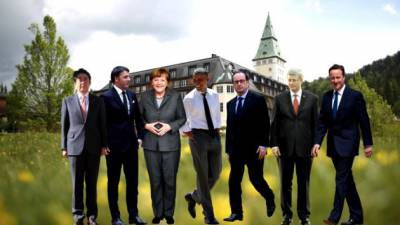 Cut outs of the G7 leaders meeting in Germany