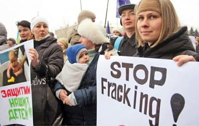 Demonstrators protest shale gas extraction in Donetsk