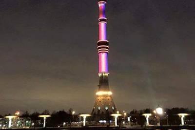 В день траура по погибшим в Париже Останкинская  башня  окрасилась в цвета французского флага