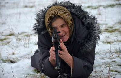 """""""Although Bilyk is too old to fight in the Ukrainian army, she said she would be happy to travel as far as Moscow to settle a score with Russian President Vladimir Putin"""""""