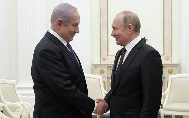 <figcaption>Russian President Vladimir Putin (R) shakes hands with Prime Minister Benjamin Netanyahu during a meeting at the Kremlin in Moscow on February 27, 2019. (MAXIM SHEMETOV / POOL / AFP)</figcaption>