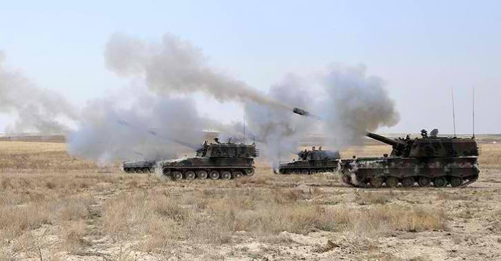 <figcaption>Turkish artillery firing into northern Syria — home to ten US bases</figcaption>