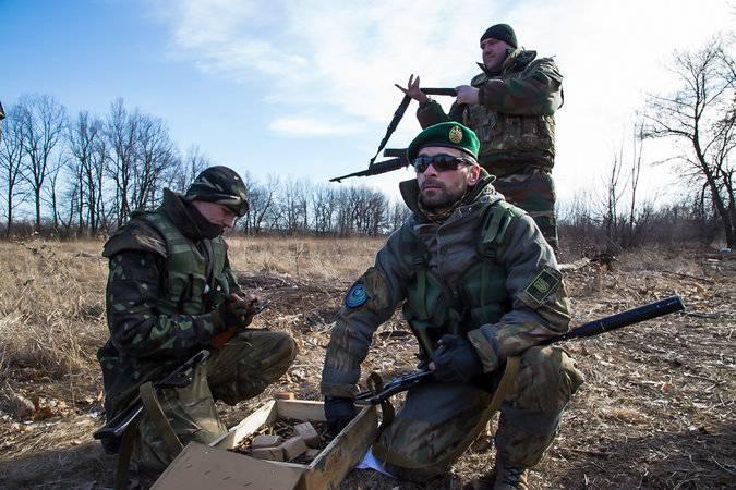 <figcaption>Чеченские джихадисты сражаются бок о бок с Правым сектором на востоке Украины</figcaption>
