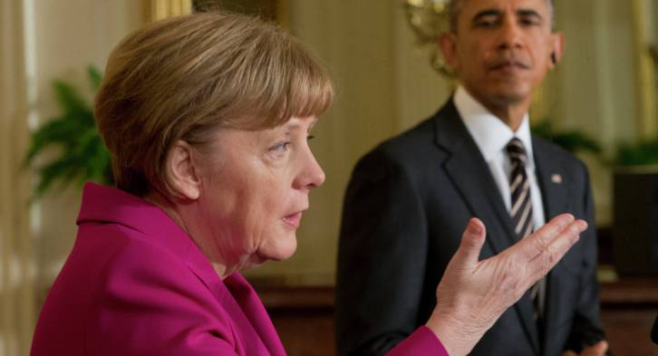 <figcaption>President Barack Obama (right) and German Chancellor Angela Merkel</figcaption>