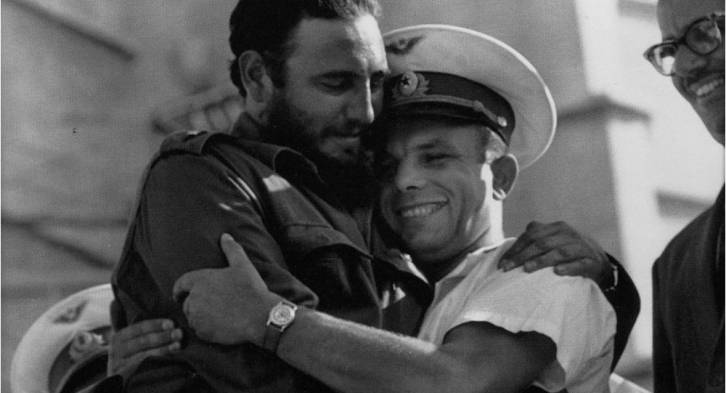 <figcaption>Russians adored him - here with Gagarin, the first man in space (click to enlarge)</figcaption>