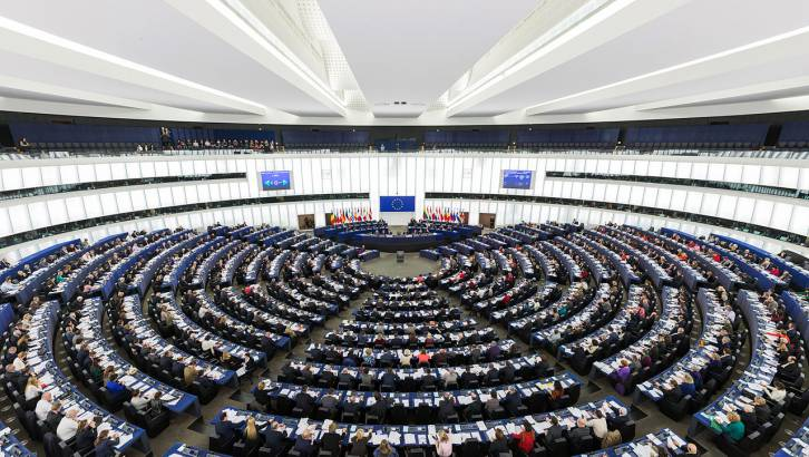 <figcaption>The Parliament&#039;s hemicycle (debating chamber) during a plenary session in Strasbourg</figcaption>