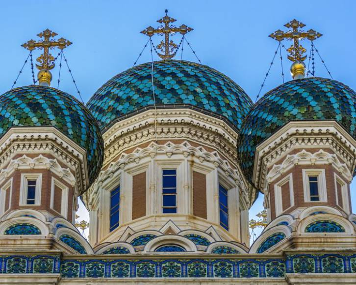 <figcaption>The construction of St. Nicholas Orthodox Cathedral was funded by Emperor Nicholas II, who donated 700,000 francs</figcaption>