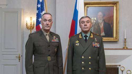 <figcaption>Dunford and Gerasimov met once before, but in a trilateral meeting where their Turkish counterpart took part as well</figcaption>