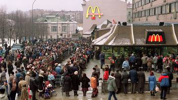 <figcaption>In 1990, when the first McDonalds fast-food restaurant opened in Moscow people were standing in lines for hours to get their initiation in Western values</figcaption>