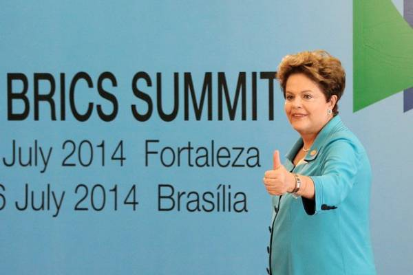 <figcaption>President of Brazil Dilma Rousseff at the BRICS Summit in Brazil where the five countries launched a $100 billion new development bank in July 2014 [PPIO]</figcaption>