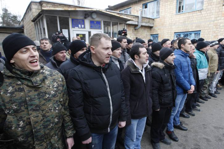<figcaption>Ukrainian Drafters before being sent to war</figcaption>