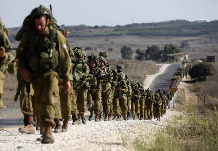 <figcaption>The Israeli military claims the drills were planned in advance</figcaption>