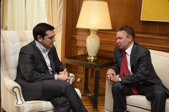 <figcaption>Greek Prime Minister Tsipras meeting with Gazprom CEO Alexey Miller in Athens</figcaption>