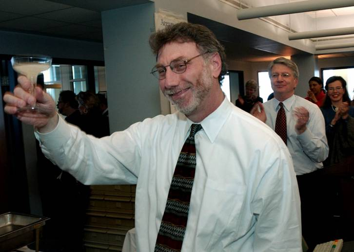 <figcaption>Editor Martin Baron, seen here dancing on the deck of the Titanic</figcaption>