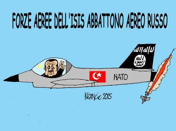 <figcaption>Надпись на карикатуре: &quot;ВВС ИГИЛ сбили российский самолет&quot;</figcaption>