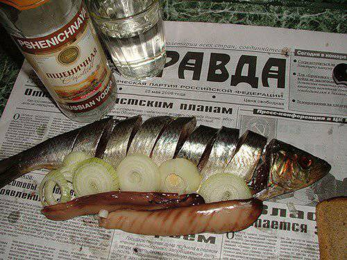 <figcaption>Nothing goes with vodka better than a nice salty fish</figcaption>