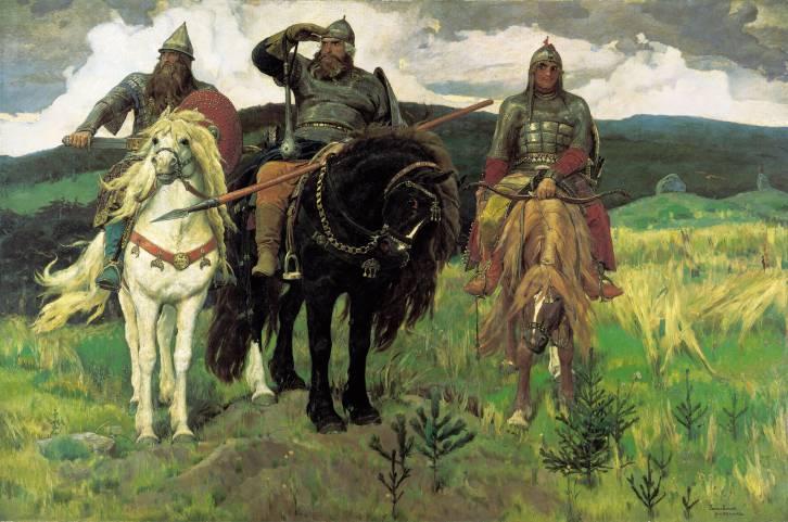 """<figcaption>Viktor Vasnetsov's """"Three Bogatyrs."""" 1898. State Tretyakov Gallery, Moscow</figcaption>"""