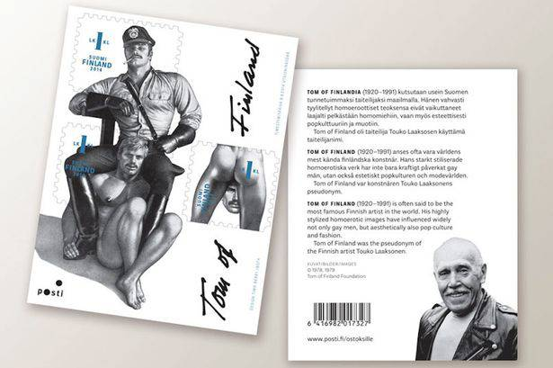<figcaption>Commemorative stamps and picture of the artist Touko Laaksonen, also known as Tom of Finland</figcaption>