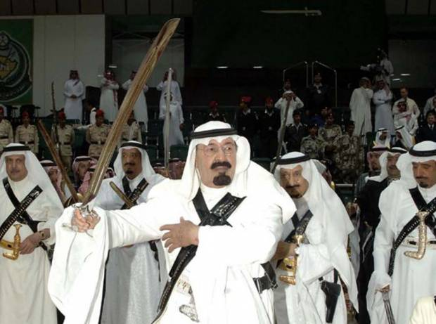 <figcaption>This is the only Saudi-related sword photo we could find that doesn't include a severed wizard head</figcaption>