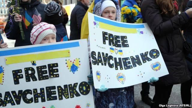 <figcaption>Rally in New York to free accused war criminal Nadiya Savchenko (Olga Loginova, Radio Free Europe)</figcaption>