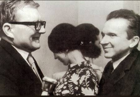 <figcaption>Dmitry Shostakovich with his friend the composer Mieczyslaw Weinberg</figcaption>