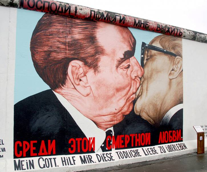 <figcaption>Brezhnev and Honecker &quot;The Fraternal Kiss&quot;</figcaption>