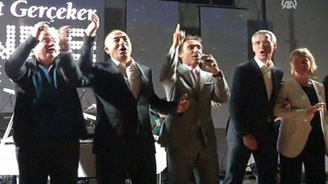 <figcaption>Drunken NATO defense chiefs singing 'We are the world'</figcaption>