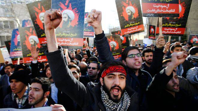 <figcaption>Iranians stormed the Saudi embassy in Tehran on Sunday</figcaption>