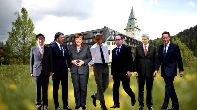 <figcaption>Cut outs of the G7 leaders meeting in Germany</figcaption>