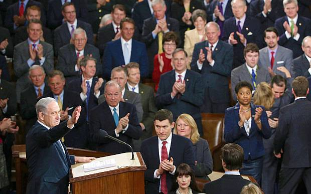<figcaption>Bibi addressing the lawmakers he has bought and paid for - the US Congress</figcaption>