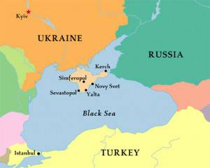<figcaption>A map showing Crimea (in beige) and its proximity to both the Ukrainian mainland and Russia</figcaption>