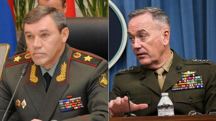 <figcaption>Dunford and Gerasimov spoke on the telephone in the same week as their underlings directing Syria operations met in person</figcaption>