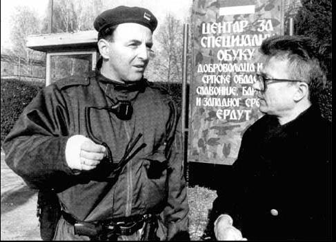 <figcaption>Eduard Limonov (right) in Serbia, November 1991</figcaption>
