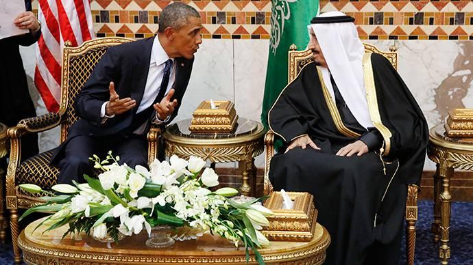 <figcaption>U.S. President Barack Obama meets with Saudi Arabia's King Salman (R) at Erga Palace in Riyadh, January 27, 2015</figcaption>