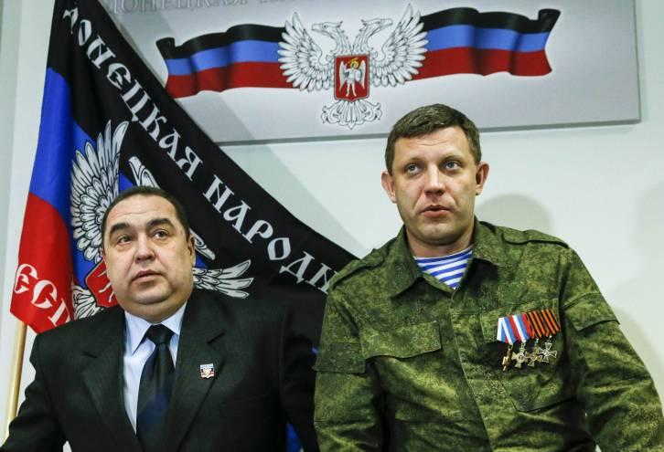 <figcaption>Igor Plotnitsky (L), head of the Lugansk People's Republic, and Alexander Zakharchenko, head of the Donetsk People's Republic | Photo: REUTERS</figcaption>