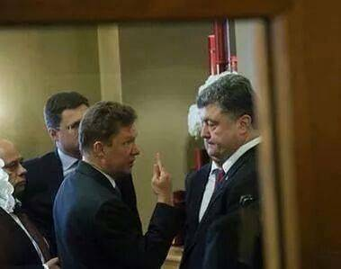 <figcaption>Basic arithmetic.  The head of Russia's gas company talking to Ukrainian president Poroshenko last week</figcaption>