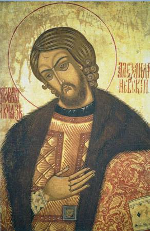 <figcaption>St. Alexander Nevsky stopped the absorption of Russia into Catholic Europe and thus saved the Russian Orthodox faith</figcaption>