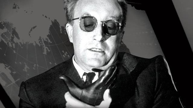 <figcaption>Peter Sellers playing Dr. Strangelove as he struggles to control his right arm from making a Nazi salute.</figcaption>