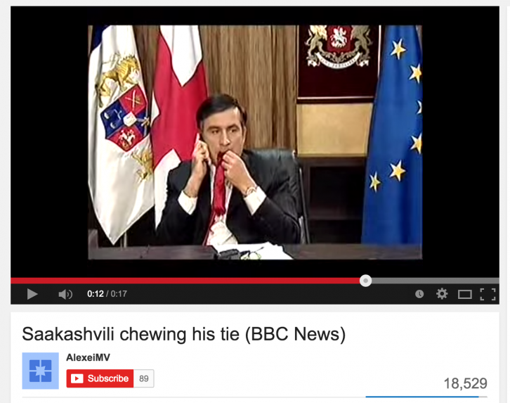 <figcaption>As Russian tanks neared Tbilisi, Georgia's president Mikheil Saakashvili gave an interview to the BBC during which he chewed on his red necktie | Photo: Screen Capture: YouTube</figcaption>