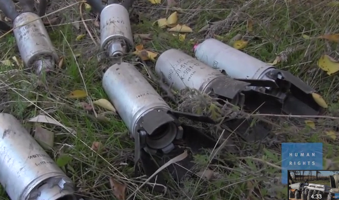 <figcaption>Cluster bomb munitions found by HRW</figcaption>