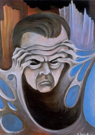 <figcaption>Zinoviev's famous self portrait - Thinking is painful</figcaption>