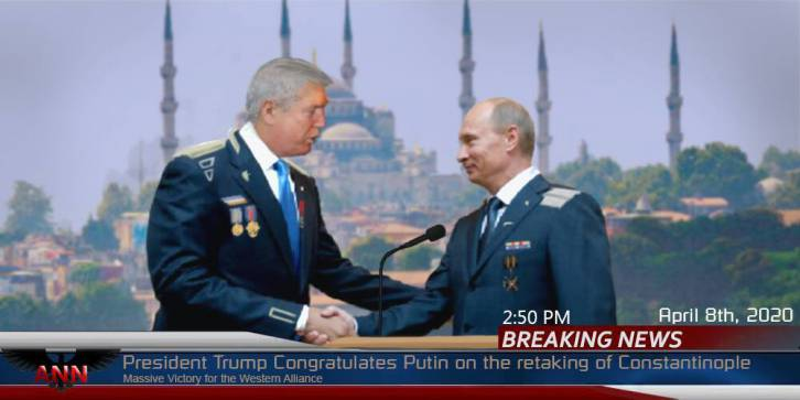 <figcaption>President Trump congratulates Putin on the taking of Constantinople  (click to enlarge)</figcaption>